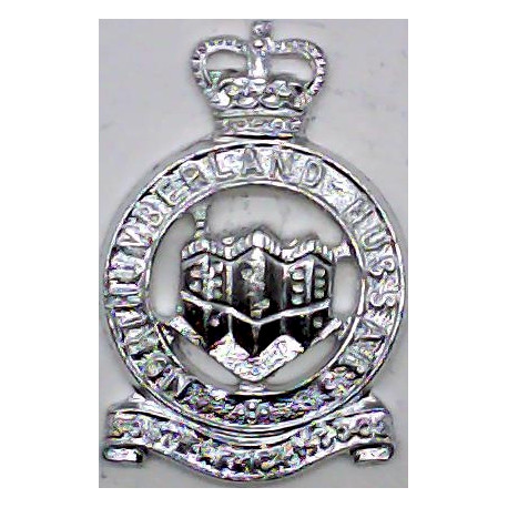 Durham Light Infantry Mouthpiece FR with Queen Elizabeth's Crown. Anodised Staybrite collar badge