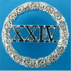 South Wales Borderers - Post-1957 XXIV In Wreath  Anodised Staybrite collar badge