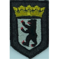 German Prisons - Berlin - Arm Badge - Shield Small On Grey  Embroidered Overseas Police, Prison or Corrections insignia