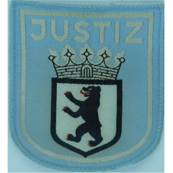 German Prisons - Berlin Justiz - Arm Badge - Shield Large On Sky-Blue  Woven Overseas Police, Prison or Corrections insignia