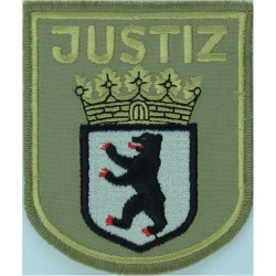 German Prisons - Berlin Justiz - Arm Badge - Shield Large On Brown  Embroidered Overseas Police, Prison or Corrections insignia