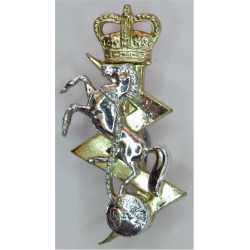 Royal Electrical & Mechanical Engineers FL with Queen Elizabeth's Crown. Anodised Staybrite collar badge