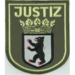 German Prisons - Berlin Justiz - Arm Badge - Shield Large On Sand  Embroidered Overseas Police, Prison or Corrections insignia
