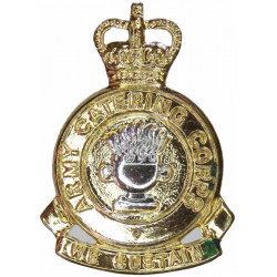 Army Catering Corps - 'We Sustain' Scroll 1973-1993 with Queen Elizabeth's Crown. Anodised Staybrite collar badge