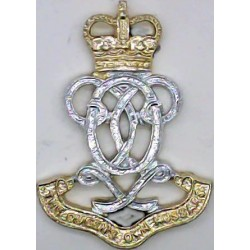 Queen's Own Hussars  with Queen Elizabeth's Crown. Anodised Staybrite collar badge