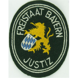 German Prisons - Freistaat Bayern Justiz Arm Badge - Oval  Embroidered Overseas Police, Prison or Corrections insignia