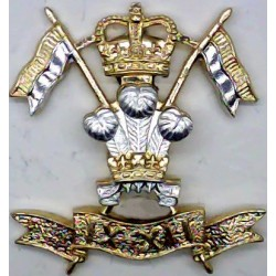 9th/12th Royal Lancers (Prince Of Wales's)  with Queen Elizabeth's Crown. Anodised Staybrite collar badge