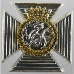 Queen's Royal Irish Hussars FR - Pre-SEP 1993 with Queen Elizabeth's Crown. Anodised Staybrite collar badge