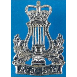 Army Junior School Of Music - 1985-1991 Crown/Lyre Over AJSM with Queen Elizabeth's Crown. Anodised Staybrite collar badge