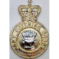 Army Catering Corps No Scroll - Pre-1973 with Queen Elizabeth's Crown. Anodised Staybrite collar badge