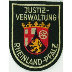 German Prisons - Rheinland-Pfalz Justiz-Verwaltung Arm Shield On Green  Embroidered Overseas Police, Prison or Corrections insig