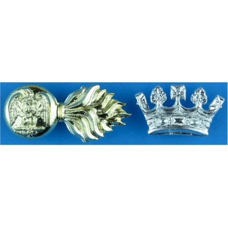 Sherwood Rangers Yeomanry Mouthpiece FR with Queen Elizabeth's Crown. Anodised Staybrite collar badge