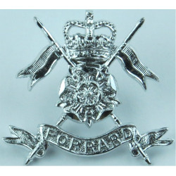 Royal Green Jackets Bugle Mouthpiece FR Anodised Staybrite collar badge
