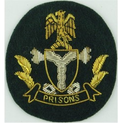 Nigeria Prisons Cap Badge On Dark Green Oval  Bullion wire-embroidered Overseas Police, Prison or Corrections insignia