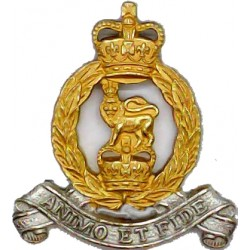 Adjutant General's Corps FL with Queen Elizabeth's Crown. Silver-plate and gilt Officers' collar badge