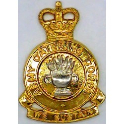 Army Catering Corps - 'We Sustain' Scroll 1973-1993 with Queen Elizabeth's Crown. Silver-plate and gilt Officers' collar badge