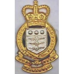 Royal Army Ordnance Corps Cannons FR 1952-1993 with Queen Elizabeth's Crown. Silver-plate and gilt Officers' collar badge