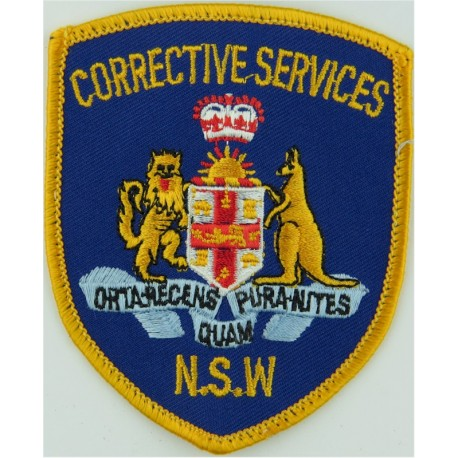 Australia: New South Wales Corrective Services Arm Badge with Queen Elizabeth's Crown. Embroidered Overseas Police, Prison or Co