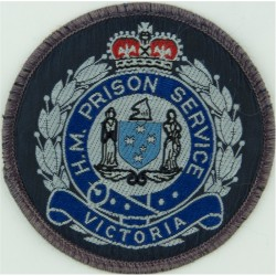 Australia: Victoria: HM Prison Service Arm Badge with Queen Elizabeth's Crown. Woven Overseas Police, Prison or Corrections insi
