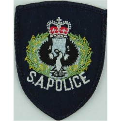 Australia: South Australia Police: SA Police Wording Arm Badge with Queen Elizabeth's Crown. Embroidered Overseas Police, Prison