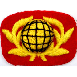 Royal Marines Band - Globe & Laurels Yellow/Black On Red  Embroidered Other Ranks' collar badge