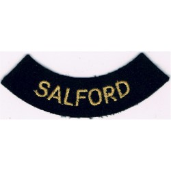Salford (Curved Chest Title) - Small Yellow On Dark Blue  Embroidered Civil Defence