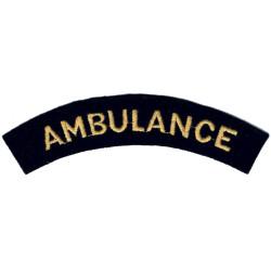 Ambulance (Shoulder Title) Yellow On Dark Blue  Embroidered Civil Defence