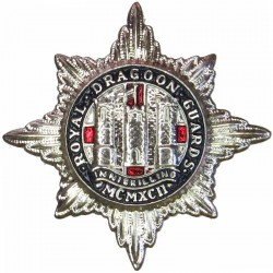 Royal Dragoon Guards - Enamelled Flag To Left  Silver-plated and enamel Other Ranks' collar badge