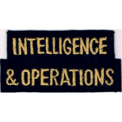 Intelligence & Operations (Shoulder Title) Yellow On Dark Blue  Embroidered Civil Defence