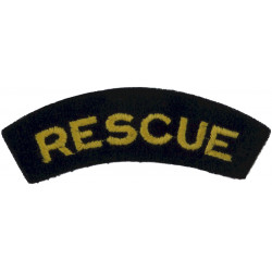 Rescue (Shoulder Title) Yellow On Dark Blue  Embroidered Civil Defence