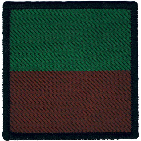 5 Airborne Brigade - Headquarters (2nd Pattern) Maroon/Green Square  Woven Parachute DZ (Drop-Zone) Patch