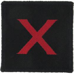 Parachute Regiment - 10th Battalion Red X On Black  Woven Parachute DZ (Drop-Zone) Patch