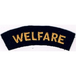 Welfare (Shoulder Title) Yellow On Dark Blue  Embroidered Civil Defence