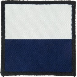 16 Air Assault Brigade - 216  Signal Squadron 72mm Sq White/Blue  Woven Parachute DZ (Drop-Zone) Patch