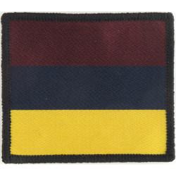 16 Air Assault Brigade - 16 Close Sp Medical Regt Maroon/Blue/Yellow  Woven Parachute DZ (Drop-Zone) Patch