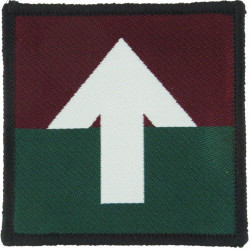 5 Airborne Brigade - Pathfinders (Arrow To Maroon) White On Maroon/Grn  Woven Parachute DZ (Drop-Zone) Patch