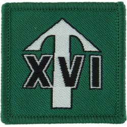 Parachute Regiment - 4th Battn - 16 Lincoln Company Arrow / XVI On Green  Woven Parachute DZ (Drop-Zone) Patch