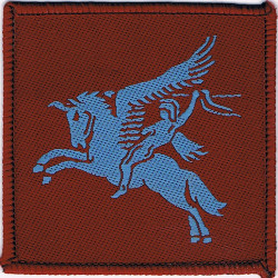 5 Airborne Brigade - Sky Blue On Maroon Pegasus FL  Woven Parachute DZ (Drop-Zone) Patch