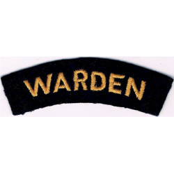 Warden (Shoulder Title) Yellow On Dark Blue  Embroidered Civil Defence