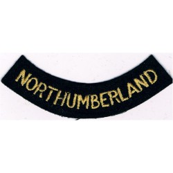 Northumberland (Curved Chest Title) Yellow On Dark Blue  Embroidered Civil Defence