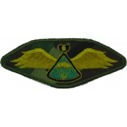 Lesotho Parachute Wings On Camouflage Background Green Behind 'Chute  Embroidered Parachute jump wings or badge