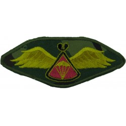 Lesotho Parachute Wings On Camouflage Background Red Behind 'Chute  Embroidered Parachute jump wings or badge