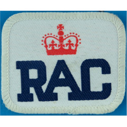 Royal Automobile Club Chest Badge Rounded Rectangle with Queen Elizabeth's Crown. Woven