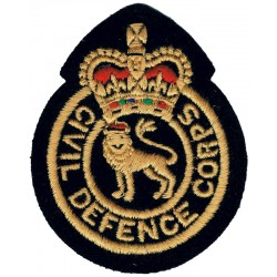 Civil Defence Corps - English Lion Colour Chest Badge with Queen Elizabeth's Crown. Embroidered Civil Defence