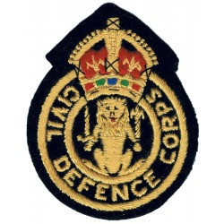 Civil Defence Corps - Scottish Lion Colour Chest Badge with King's Crown. Embroidered Civil Defence