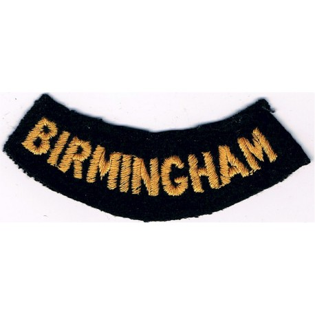 Birmingham (Curved Chest Title) Yellow On Dark Blue  Embroidered Civil Defence