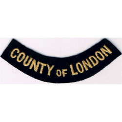 County Of London (Curved Chest Title) Yellow On Dark Blue  Embroidered Civil Defence
