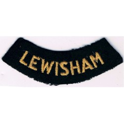 Lewisham (Curved Chest Title) Yellow On Dark Blue  Embroidered Civil Defence