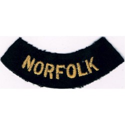 Norfolk (Curved Chest Title) Yellow On Dark Blue  Embroidered Civil Defence