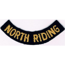 North Riding (Curved Chest Title) Yellow On Dark Blue  Embroidered Civil Defence